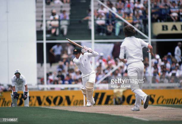 Australian cricket captain Greg Chappell deals with a ball from England's Bob Willis during his century at the First Test in the Ashes series Perth...