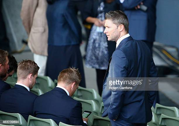 Australian cricket captain Michael Clarke arrives prior to the Opening Ceremony ahead of the ICC 2015 Cricket World Cup at the Myer Music Bowl on...