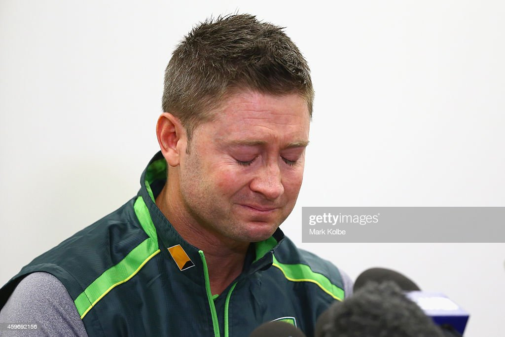 Australian cricket captain Michael Clarke pauses as he reads a statement on behalf of the Australian cricket team in response to the death of cricketer Phil Hughes to the media during a press conference at Sydney Cricket Ground on November 29, 2014 in Sydney, Australia. Hughes died on November 27, 2014 from the injuries sustained from being struck on the head while batting.