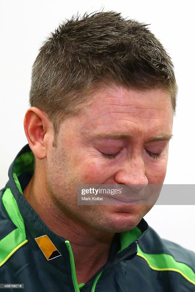Australian cricket captain <a gi-track='captionPersonalityLinkClicked' href=/galleries/search?phrase=Michael+Clarke+-+Cricket+Player&family=editorial&specificpeople=175853 ng-click='$event.stopPropagation()'>Michael Clarke</a> pauses as he reads a statement on behalf of the Australian cricket team in response to the death of cricketer Phil Hughes to the media during a press conference at Sydney Cricket Ground on November 29, 2014 in Sydney, Australia. Hughes died on November 27, 2014 from the injuries sustained from being struck on the head while batting.