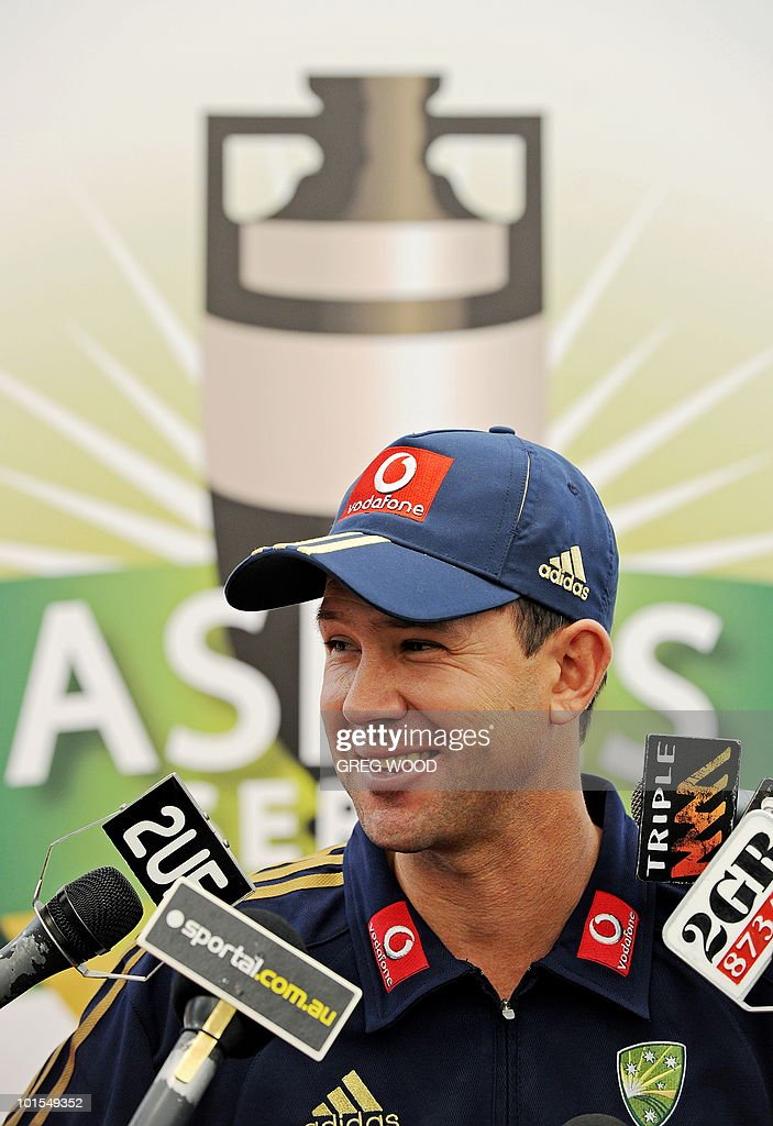 Australian cricket captain Ricky Ponting is interviewed during a sponsorship announcement in Sydney on June 2, 2010 for the upcoming Ashes cricket series between Australia and England. Vodafone is the new sponsor of the Ashes series to be held in Australia and start on November 25. AFP PHOTO / Greg WOOD