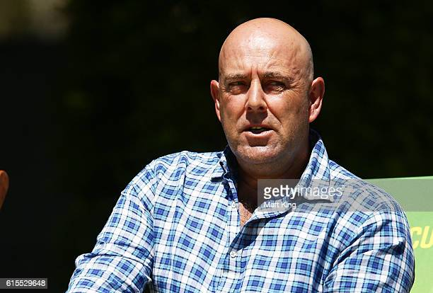 Australian cricket coach Darren Lehmann looks on during the Matador BBQs One Day Cup match between South Australia and Tasmania at Hurstville Oval on...