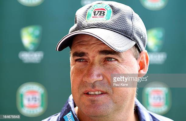Australian cricket coach Mickey Arthur speaks to the media at JC Smith Pavilion on March 26 2013 in Perth Australia