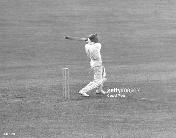 Australian cricket player Don Bradman in action during a test match against Leeds