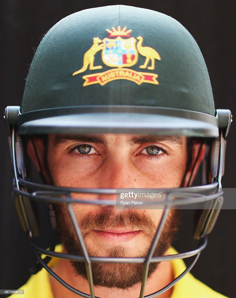 Australian cricket player <a gi-track='captionPersonalityLinkClicked' href=/galleries/search?phrase=Glenn+Maxwell&family=editorial&specificpeople=752174 ng-click='$event.stopPropagation()'>Glenn Maxwell</a> poses during portrait session at Sydney Cricket Ground on March 25, 2015 in Sydney, Australia.