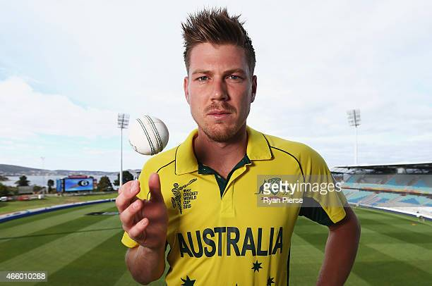 Australian cricket player James Faulkner poses during a portrait session on March 13 2015 in Hobart Australia