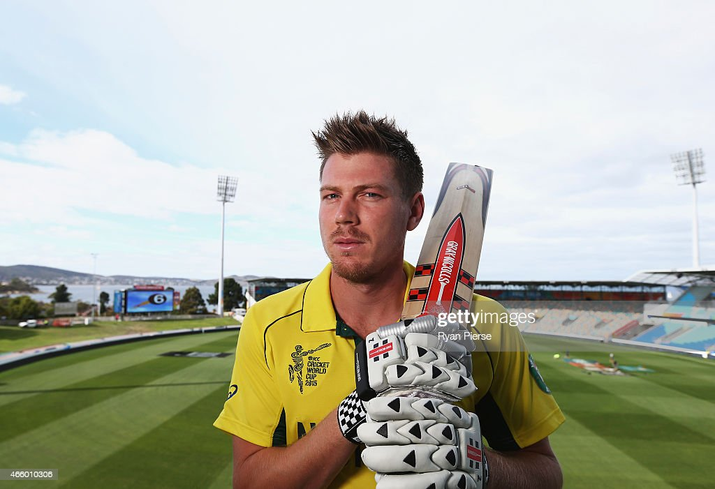 Australian cricket player <a gi-track='captionPersonalityLinkClicked' href=/galleries/search?phrase=James+Faulkner+-+Cricket&family=editorial&specificpeople=11388189 ng-click='$event.stopPropagation()'>James Faulkner</a> poses during a portrait session on March 13, 2015 in Hobart, Australia.