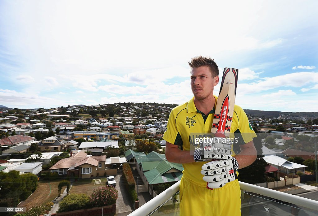 Australian cricket player <a gi-track='captionPersonalityLinkClicked' href=/galleries/search?phrase=James+Faulkner+-+Jugador+de+cr%C3%ADquet&family=editorial&specificpeople=11388189 ng-click='$event.stopPropagation()'>James Faulkner</a> poses during a portrait session on March 13, 2015 in Hobart, Australia.