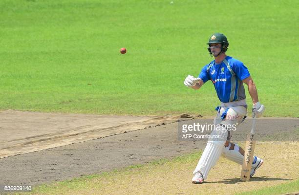 Australian cricket Steven Smith throws a ball during a training session at the ShereBangla National Cricket Stadium in Dhaka on August 22 2017...