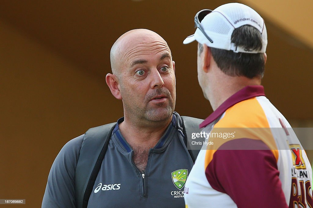 Australian cricket team coach <a gi-track='captionPersonalityLinkClicked' href=/galleries/search?phrase=Darren+Lehmann+-+Cricket+Player&family=editorial&specificpeople=171311 ng-click='$event.stopPropagation()'>Darren Lehmann</a> looks on during day one of the Sheffield Shield match between the Queensland Bulls and the Tasmania Tigers at Allan Border Field on November 6, 2013 in Brisbane, Australia.