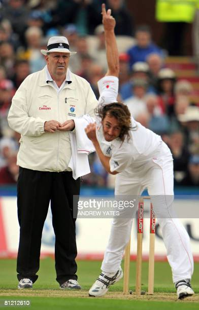 Australian cricket umpire Darrell Hair umpires on the first day of the second Test match between England and New Zealand at Old Trafford Manchester...
