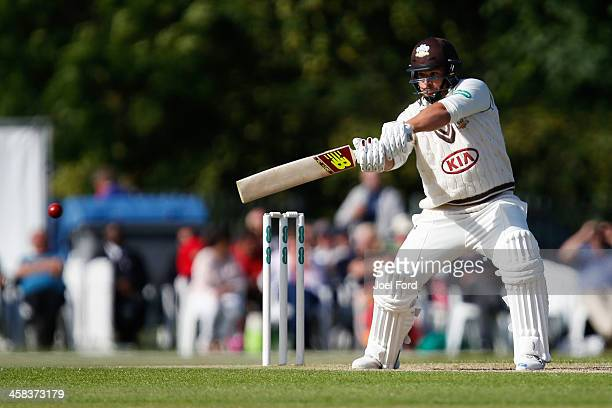 Australian cricketer Aaron Finch of Surrey plays a shot during the Specsavers County Championship Division One match between Surrey and Warwickshire...
