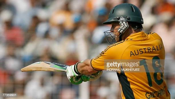 Australian cricketer Adam Gilchrist plays a shot during the final One Day International match at the Wankhade Stadium in Mumbai 17 October 2007...