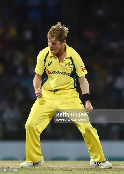 Australian cricketer Adam Zampa celebrates after he dismissed Sri Lanka cricketer Sri Lankan cricketer Kusal Mendis during the final T20 cricket...