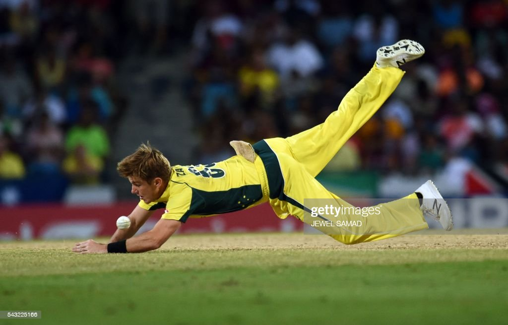 Australian cricketer Adam Zampa dives to field the ball during the final match of the Tri-nation Series between Australia and West Indies in Bridgetown on June 26, 2016. / AFP / Jewel SAMAD