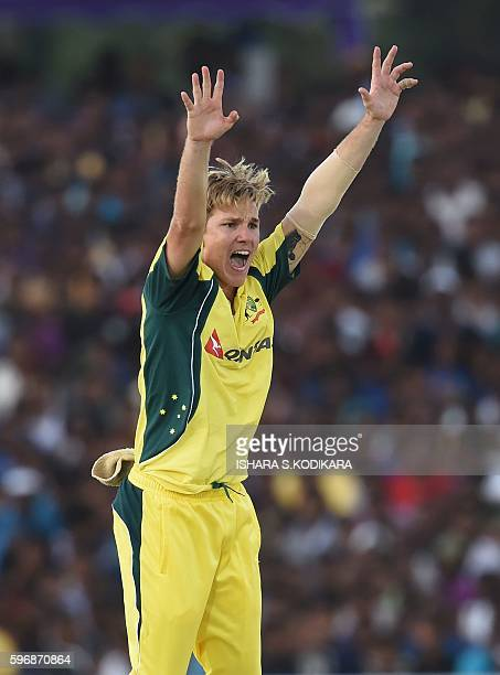 Australian cricketer Adam Zampa unsuccessfully appeals for a leg before wicket decision against Sri Lanka's Dilruwan Perera during the third One Day...