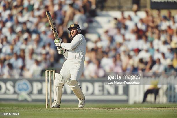 Australian cricketer Allan Border pictured in action batting for Australia during play against England in the Sixth Test at The Oval in London in...