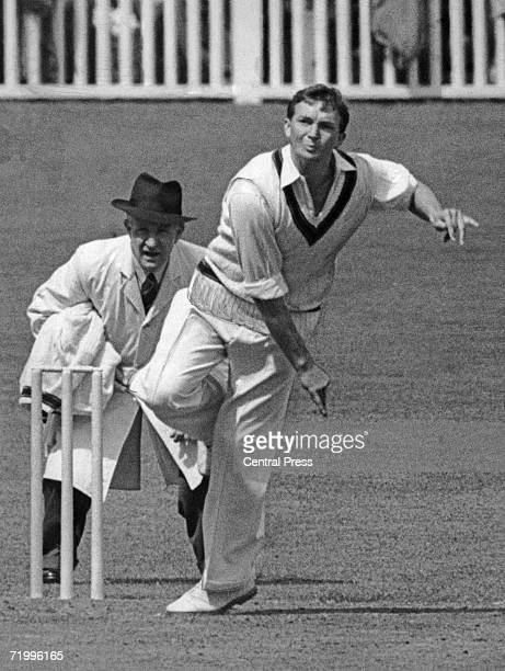 Australian cricketer and team captain Richie Benaud takes on the MCC in the first innings at Brisbane 5th December 1958