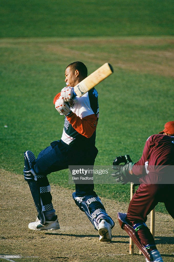 Australian cricketer Andrew Symonds batting for Gloucestershire against Somerset in a Sunday League, first round match at Taunton County Ground, Somerset, 7th May 1995. Gloucestershire won the match by 6 wickets.