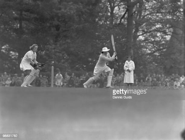 Australian cricketer Betty Wilson against Kent at Sevenoaks at the start of the Australian Women's Cricket Team tour of England 19th May 1951