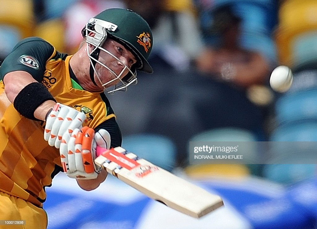 Australian cricketer David Warner plays a shot during The ICC World Twenty20 Super 8 match between Australia and India at the Kensington Oval on May 7, 2010 in Bridgetown, Barbados. AFP PHOTO/Indranil MUKHERJEE