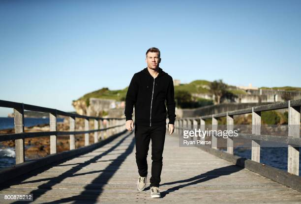 Australian cricketer David Warner poses during a portrait session at La Perouse on June 26 2017 in Sydney Australia