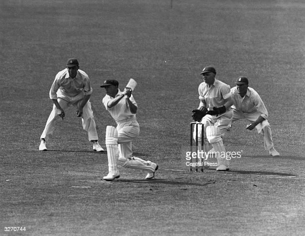 Australian cricketer Don Bradman batting during a test match against England at Trent Bridge Nottingham Sir Donald Bradman was the first cricketer to...