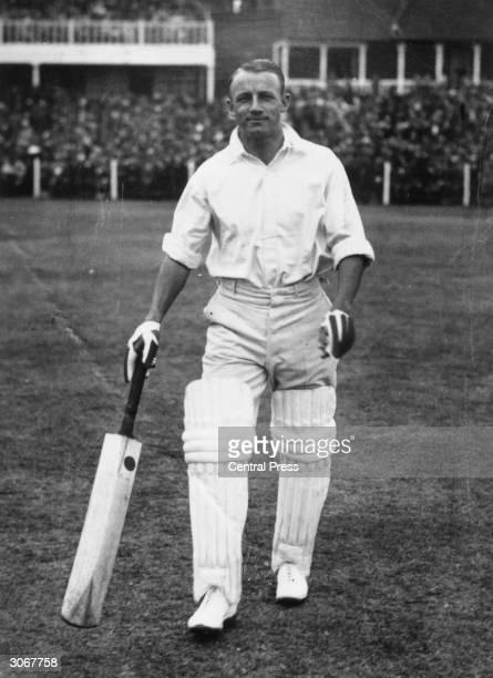 Australian cricketer Don Bradman perhaps the greatest batsman ever during an England vs Australia match in Leeds