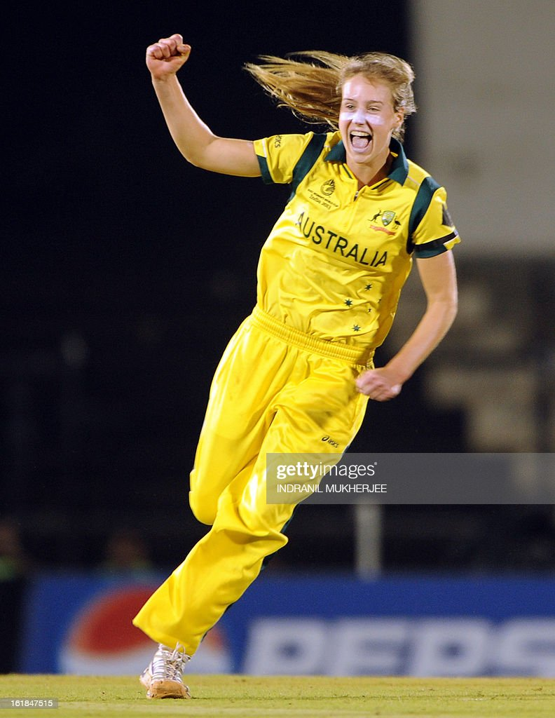 Australian cricketer Elysse Perry celebrates the wicket of unseen West Indies cricketer Stafanie Taylor during the final match of the ICC Women's World Cup 2013 between Australia and West Indies at the Cricket Club of India's Brabourne stadium in Mumbai on February 17, 2013. AFP PHOTO/Indranil MUKHERJEE