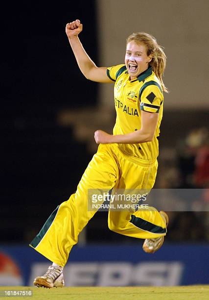 Australian cricketer Elysse Perry celebrates the wicket of unseen West Indies cricketer Stafanie Taylor during the final match of the ICC Women's...