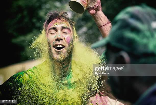 Australian Cricketer Glenn Maxwell celebrates Holi Festival of Colours with Chandigargh locals ahead of the ICC WT20 match between Australia and...