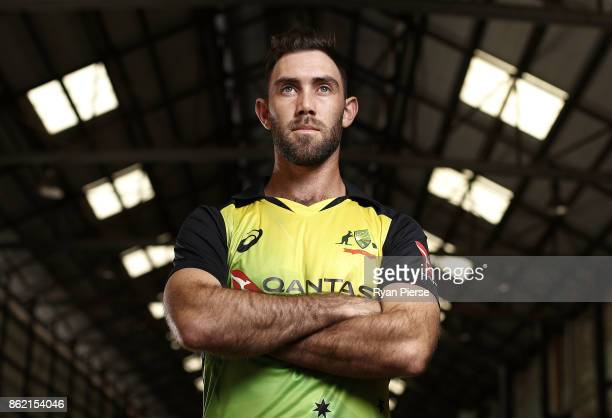 Australian Cricketer Glenn Maxwell poses during the Australian Cricket Team ASICS Kit Launch at Carriageworks on October 17 2017 in Sydney Australia