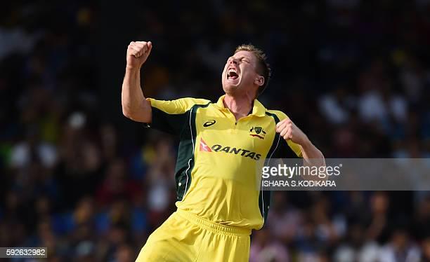 Australian cricketer James Faulkner celebrates after he dismissed Sri Lanka's captain Angelo Mathews during the first One Day International cricket...