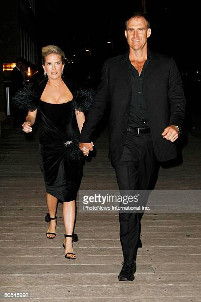 IMAGE Australian cricketer Matthew Hayden and his wife Kellie arrive at the engagement party for Lara Bingle and her cricketer boyfriend Michael...