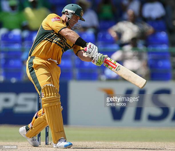 Australian cricketer Matthew Hayden drives to the boundary during the final ICC World Cup Cricket Group A match against South Africa on St Kitts 24...