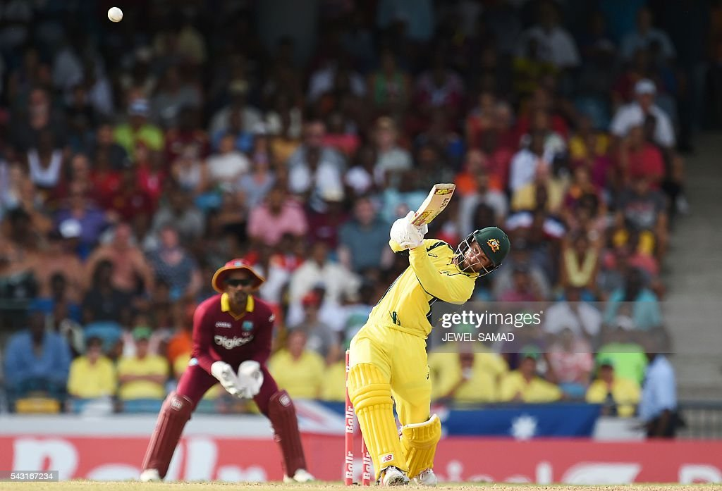 Australian cricketer Matthew Wade during the final match of the Tri-nation Series between Australia and West Indies in Bridgetown on June 26, 2016. / AFP / Jewel SAMAD