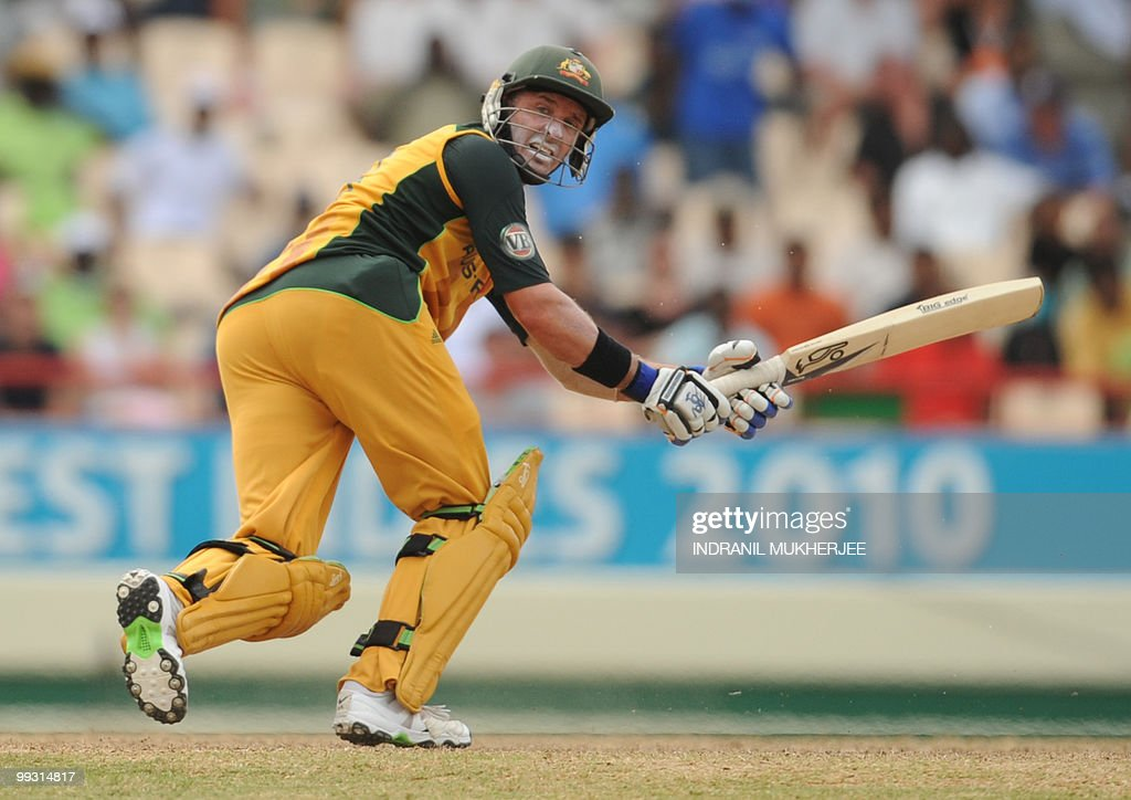Australian cricketer Mike Hussey plays a shot during the ICC World Twenty20 second semifinal match between Australia and Pakistan at the Beausejour Cricket Ground on May 14, 2010 in Gros Islet, St Lucia. Australia won the match by 3 wickets and will play England in the finals on May 16 at Kensington Oval in Barbados. AFP PHOTO/Indranil MUKHERJEE