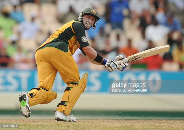 Australian cricketer Mike Hussey plays a shot during the ICC World Twenty20 second semifinal match between Australia and Pakistan at the Beausejour...