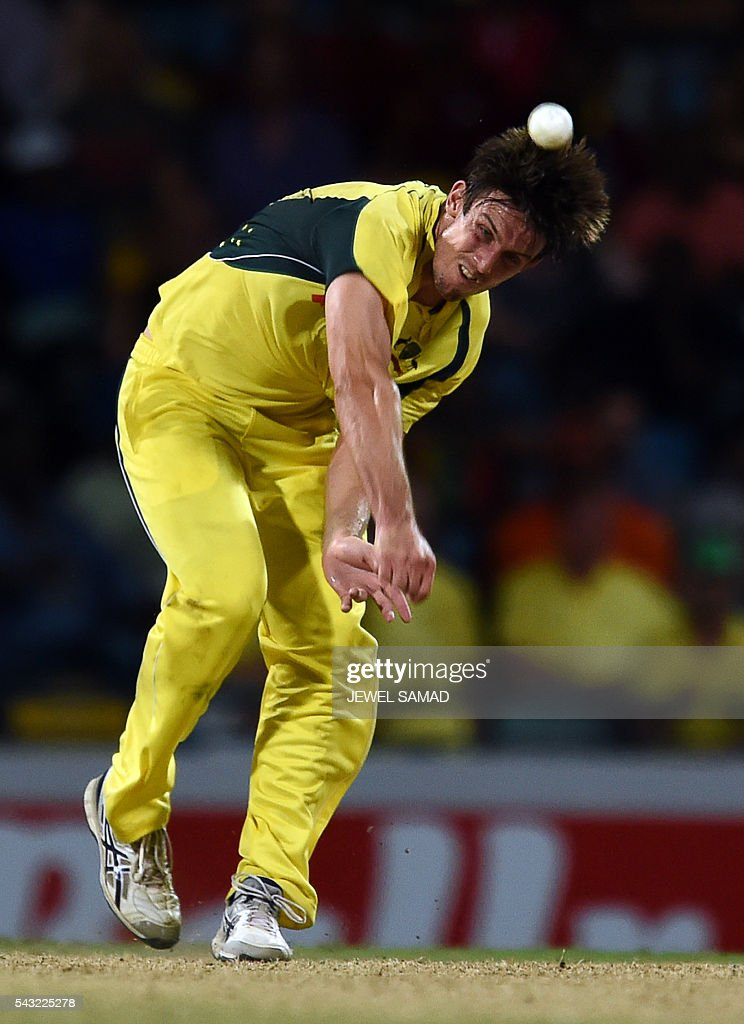 Australian cricketer Mitchell Marsh delivers a ball during the final match of the Tri-nation Series between Australia and West Indies in Bridgetown on June 26, 2016. / AFP / Jewel SAMAD