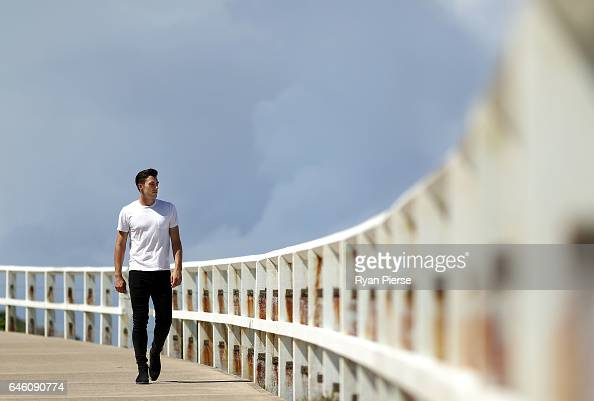 Australian Cricketer Pat Cummins poses during a portrait session at Bronte Beach on February 28 2017 in Sydney Australia