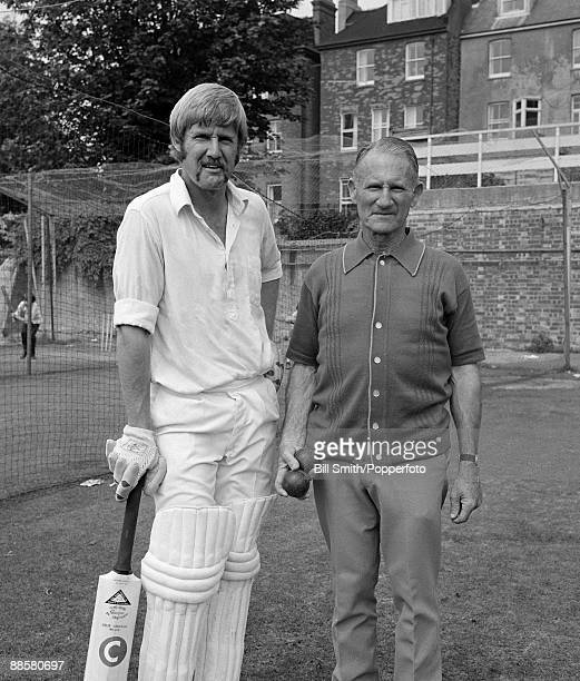 Australian cricketer Ross Edwards with his father EK Edwards who played First Class cricket for Western Australia in 1948/49 pictured at Hove prior...