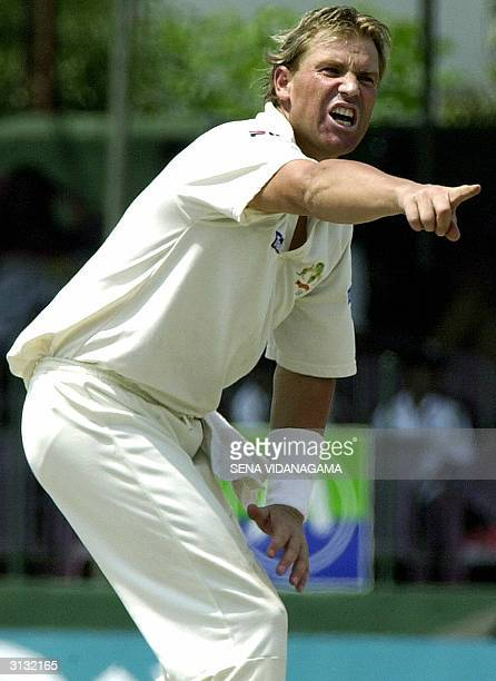 Australian cricketer Shane Warne unsuccesfully appeals for a Leg Before Wicket decision against unseen Sri Lankan batsman Chaminda Vass during the...