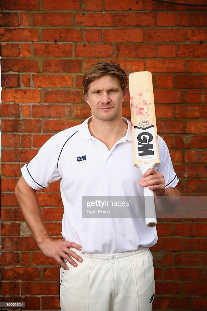 Australian Cricketer <a gi-track='captionPersonalityLinkClicked' href=/galleries/search?phrase=Shane+Watson+-+Cricket+Player&family=editorial&specificpeople=171874 ng-click='$event.stopPropagation()'>Shane Watson</a> poses at The County Ground on August 13, 2015 in Northampton, England.