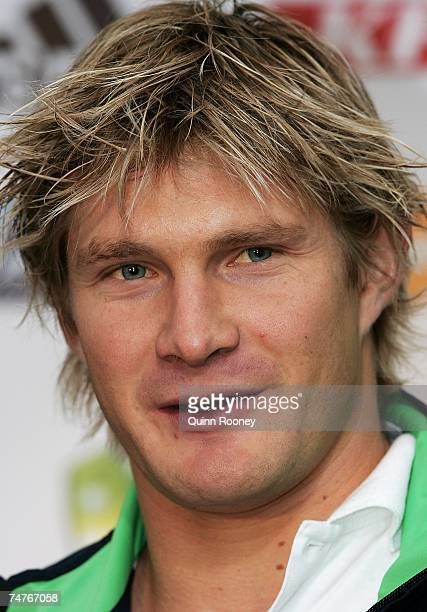 Australian cricketer Shane Watson speaks to the media during the Cricket Australia 200708 ticket launch at the Transport Hotel June 19 2007 Melbourne...