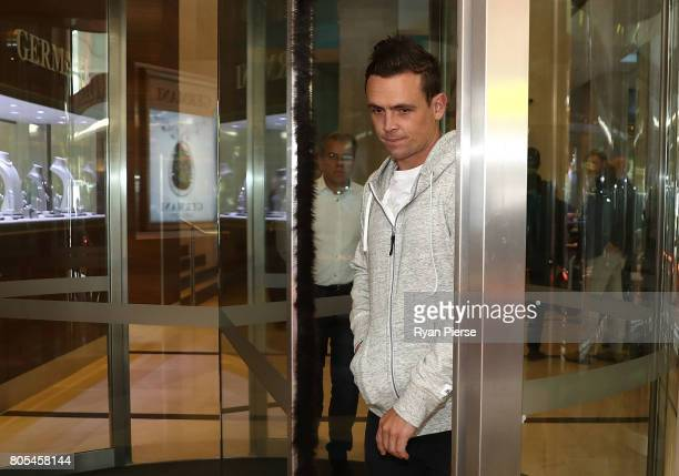 Australian cricketer Steve O'Keefe leaves after the ACA Emergency Executive meeting at the Hilton Hotel on July 2 2017 in Sydney Australia More than...