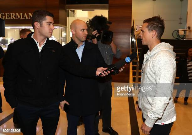 Australian cricketer Steve O'Keefe speaks to the media after the ACA Emergency Executive meeting at the Hilton Hotel on July 2 2017 in Sydney...