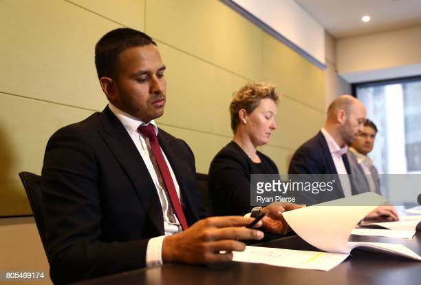 Australian Cricketer Usman Khawaja looks on during a press conference after the ACA Emergency Executive meeting at the Hilton Hotel on July 2 2017 in...