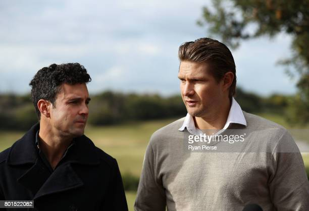 Australian Cricketers Ed Cowan and Shane Watson speak to the media during the Australian Cricketers' Association Golf Day at New South Wales Golf...