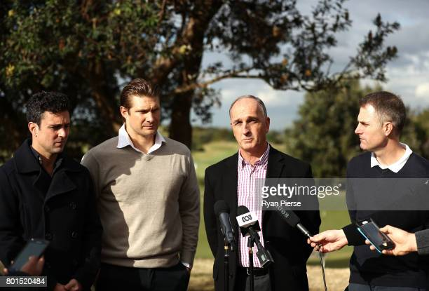 Australian Cricketers Ed Cowan Shane Watson and Simon Katich along with ACA President Greg Dyer speak to the media during the Australian Cricketers'...