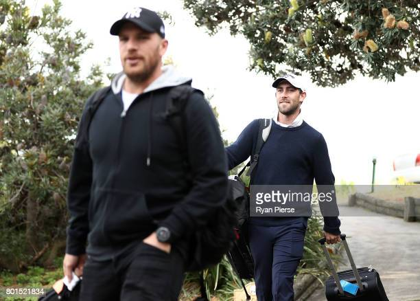 Australian Cricketers Glenn Maxwell and Aaron Finch arrive during the Australian Cricketers' Association Golf Day at New South Wales Golf Club on...